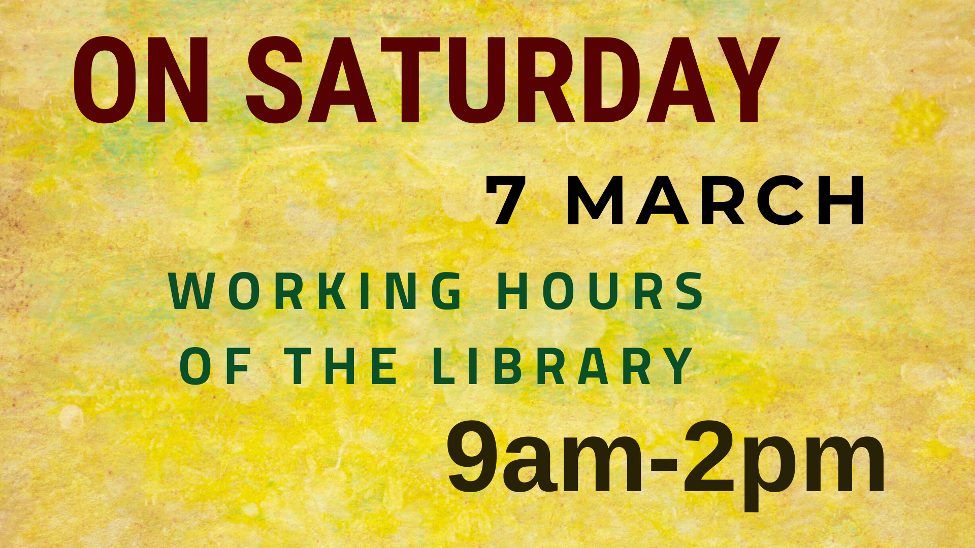 On Saturday 7 March our library is open from 9am until 2pm